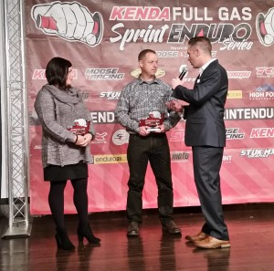 Nancy Sabater & Billy Schlag accepting Full Gas Sprint Enduro Awards for Series Ambassadors 2016